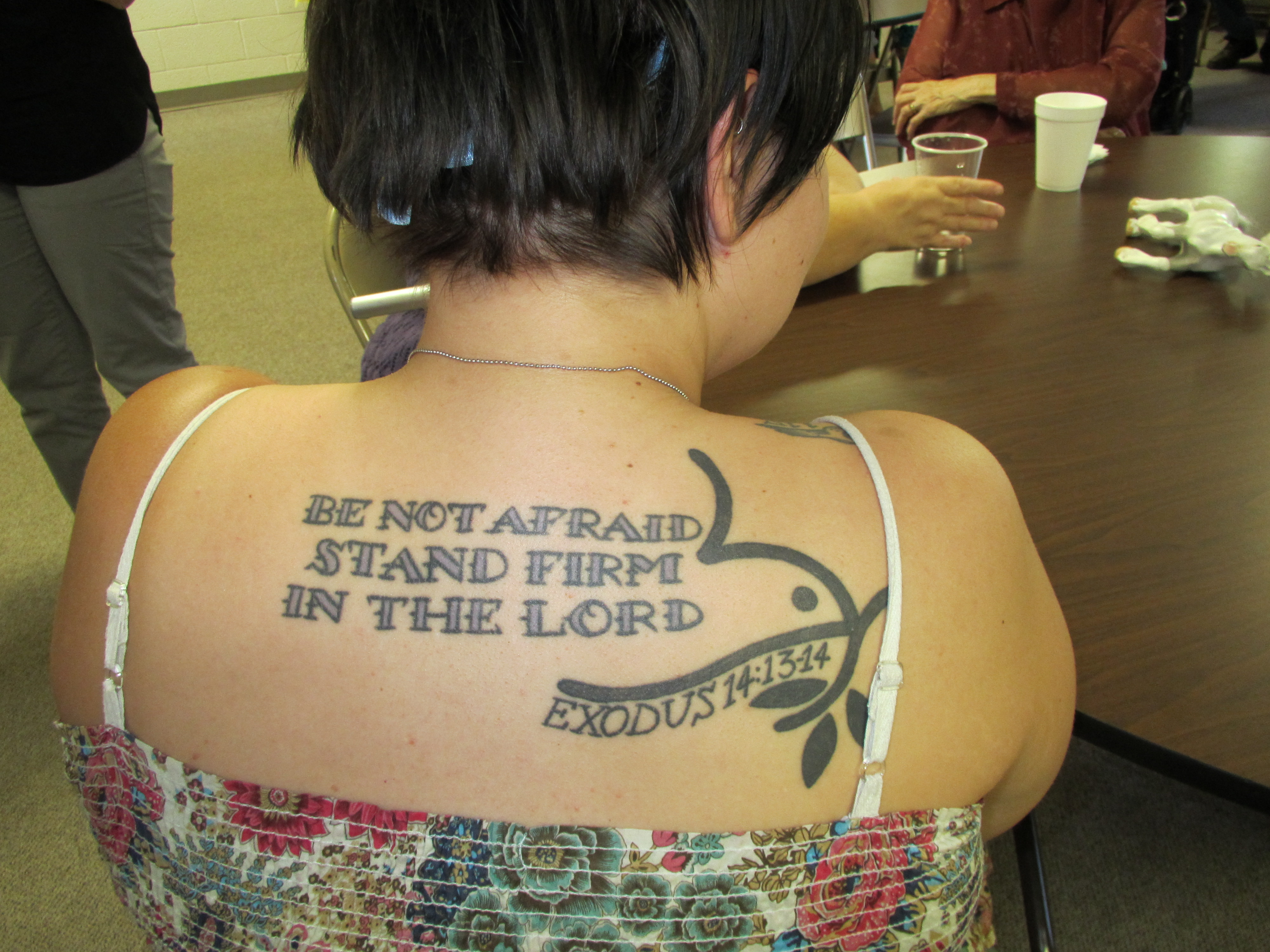 Tatoo of Bible verse, Desiree Younger at Beatrice Menn 072113